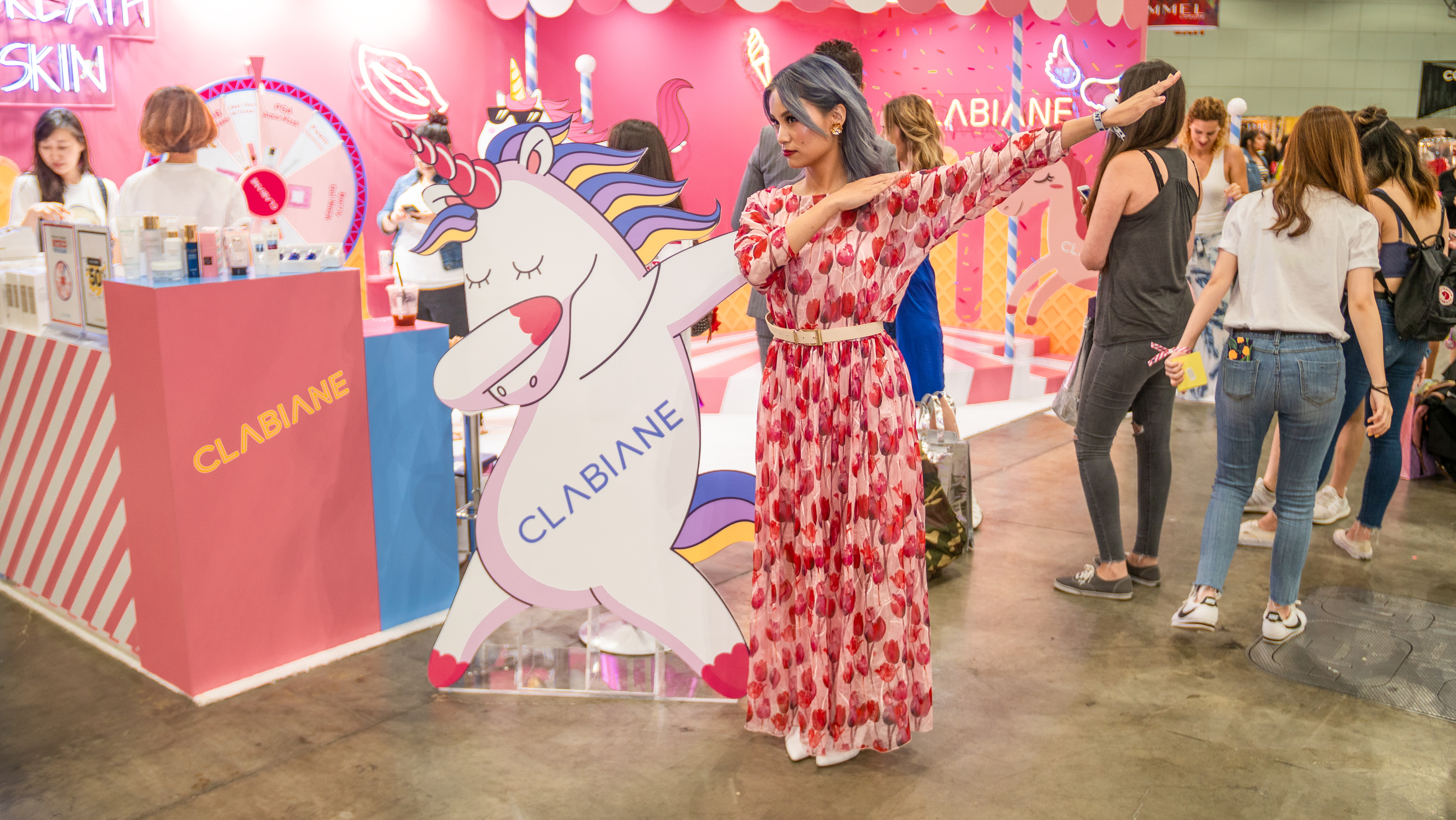 YukiBomb with Clabiane Kbeauty Brand during Beautycon LA 2018